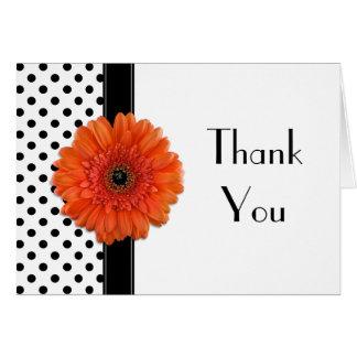 Polka Dot Orange Daisy Wedding Shower Thank You Card