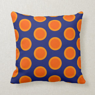 Polka dot oranges on blue pillow throw cushions