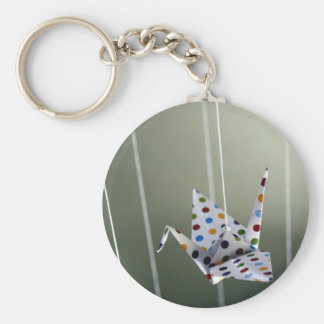 polka dot origami crane basic round button key ring