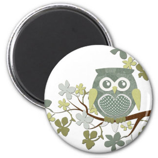 Polka Dot Owl in Tree 6 Cm Round Magnet