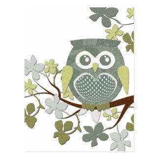 Polka Dot Owl in Tree Postcard