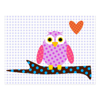 Polka Dot Owl on a Tree Branch Postcard