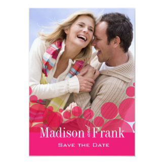 Polka Dot Parade Photo Save the Date hot pink 13 Cm X 18 Cm Invitation Card