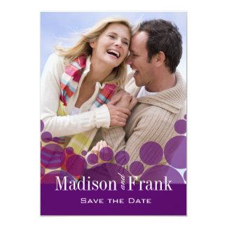Polka Dot Parade Photo Save the Date purple 13 Cm X 18 Cm Invitation Card