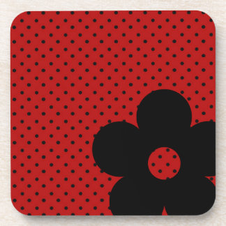 Polka Dot Party Flower in Red Beverage Coaster