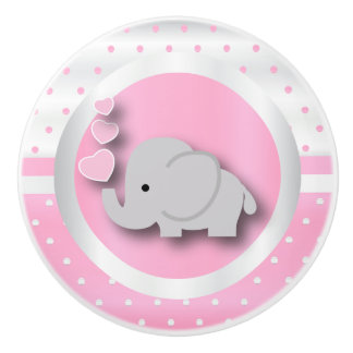 Polka Dot Pattern | Baby Pink, White & Elephant Ceramic Knob