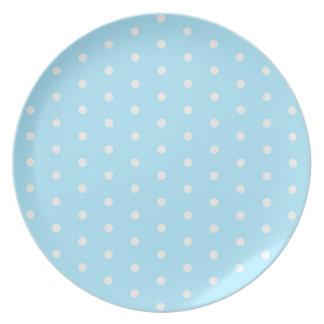 Polka dot pattern blue fabric circles dots ovals plate