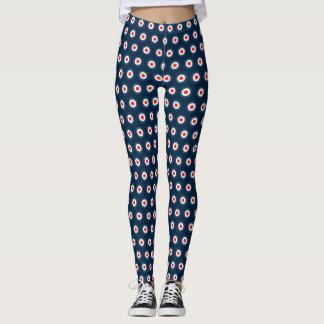 Polka Dot Pattern - Blue Red White Leggings