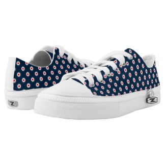 Polka Dot Pattern - Blue Red White Low Tops