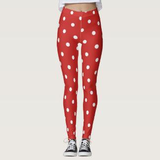 Polka dot pattern classic retro style red leggings