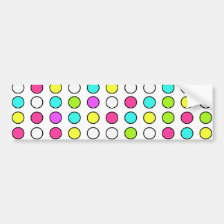 Polka Dot Pattern Pink Teal Lime Green Yellow Bumper Stickers