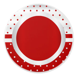 Polka Dot Pattern | Red and White Ceramic Knob