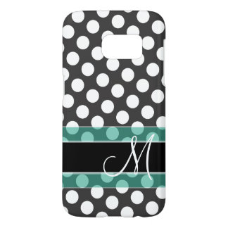 Polka Dot Pattern with Monogram - teal black