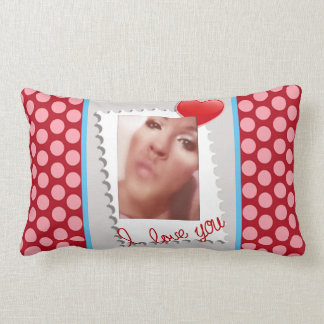 Polka Dot Personalized Valentines Day Photo Lumbar Cushion