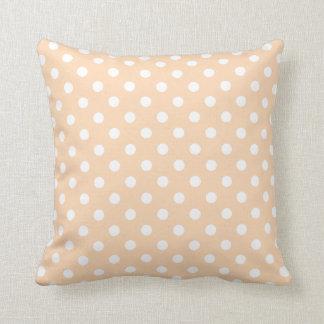 Polka Dot Pillows in Apricot Throw Cushion