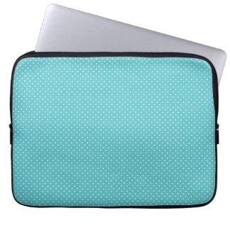 Polka dot pin dots girly chic blue pattern laptop sleeve