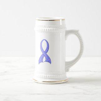 Polka Dot Pink Blue Ribbon Male Breast Cancer Beer Steins