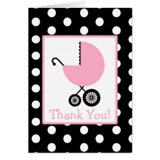 Polka Dot & Pink Carriage Baby Shower Thank You Card