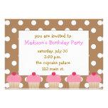 Polka Dot Pink Cupcakes Invitations