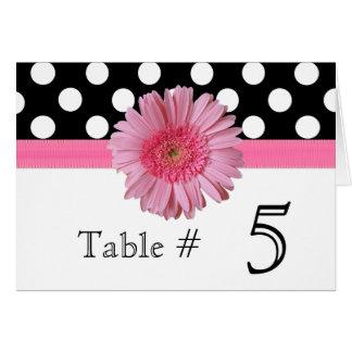 Polka Dot & Pink Gerber Daisy Wedding Table Number