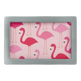Polka Dot Pink Painted Flamingo Pattern Rectangular Belt Buckle