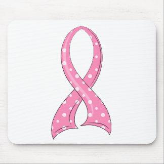 Polka Dot Pink Ribbon Breast Cancer Mouse Pad