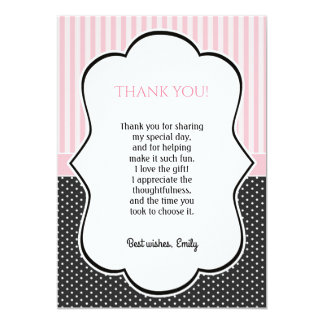 Polka Dot Pink Stripes Thank You Card