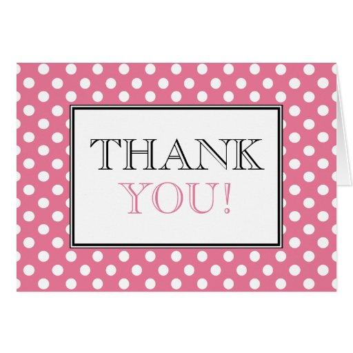 Polka Dot Pink & White Thank You Card