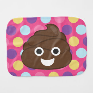 Polka Dot Poo Emoji Baby Burp Cloth