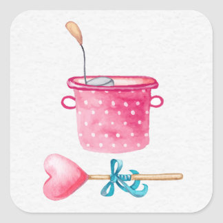 Polka Dot Pot and Heart Spoon Square Sticker