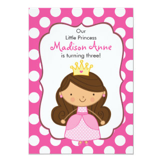 Polka Dot Princess Birthday Invitation Brunette