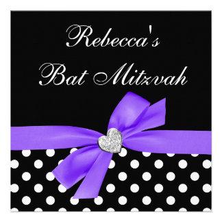 Polka Dot Purple Black Bow Heart Bat Mitzvah Personalized Invite