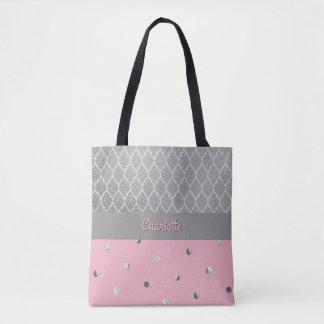 Polka Dot Quaterfoil Pink Gray Silver Girly Name Tote Bag