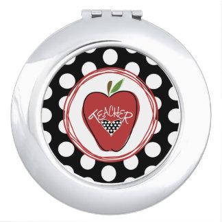 Polka Dot Red Apple Teacher Compact Mirror