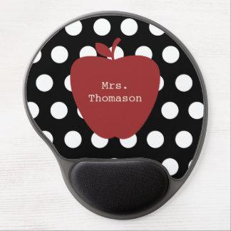 Polka Dot + Red Apple Teacher Gel Mousepad
