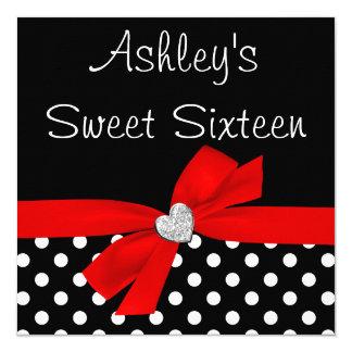 Polka Dot Red Black Bow Heart Sweet 16 13 Cm X 13 Cm Square Invitation Card