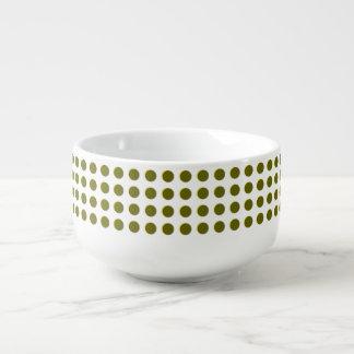 Polka dot regular pattern, gold circles dots ovals soup mug