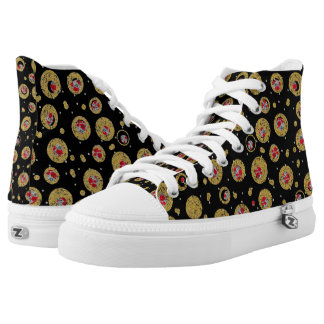 Polka dot Roses Zipz High Tops Shoes