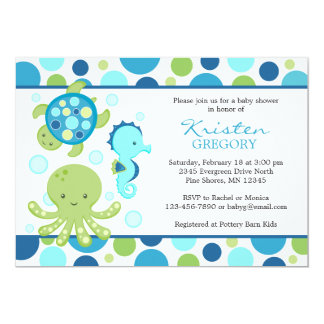Polka Dot Sea Baby Shower Invitations │ Blue