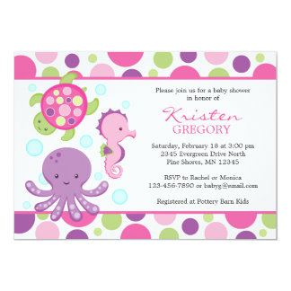 Polka Dot Sea Baby Shower Invitations │ Pink