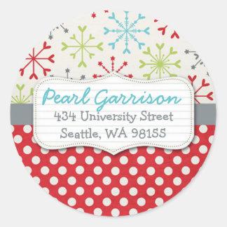 Polka dot & Snowflake Circle Return Address Label Stickers