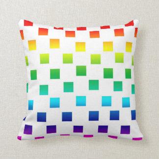 Polka Dot Squares in Rainbow on White Cushion