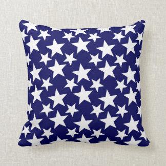 """Polka Dot"" Stars on Navy Blue Throw Pillow"