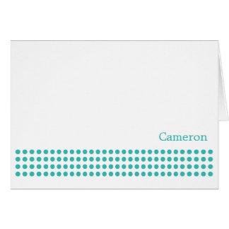 Polka Dot Stripe Blank Note Card-turquoise Card