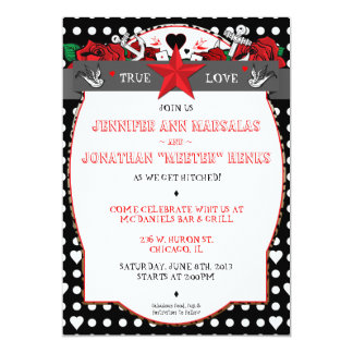 Polka Dot Tattoo Rockabilly Wedding Invitation