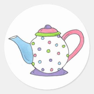 Polka Dot Tea Pot Teapot Stickers