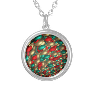 polka dot texture abstract fractal art silver plated necklace