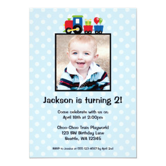 Polka Dot Train Birthday Boy Photo Invitations