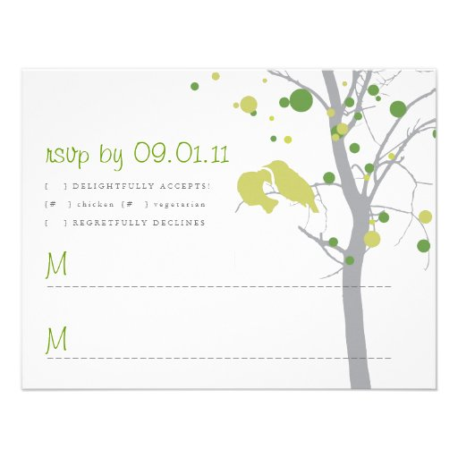 Polka Dot Tree with Love Birds RSVP Custom Announcements