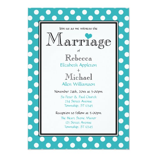 Polka Dot Turquoise Wedding Invitations